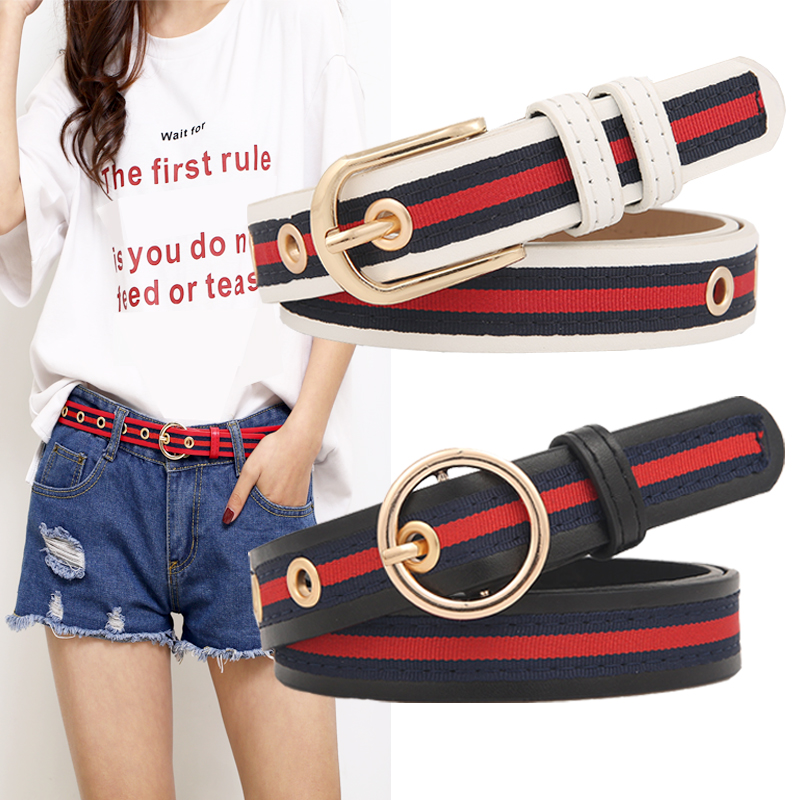 Belt womens Korean version of ulzzang stripe simple and versatile student trend jeans social women BF belt