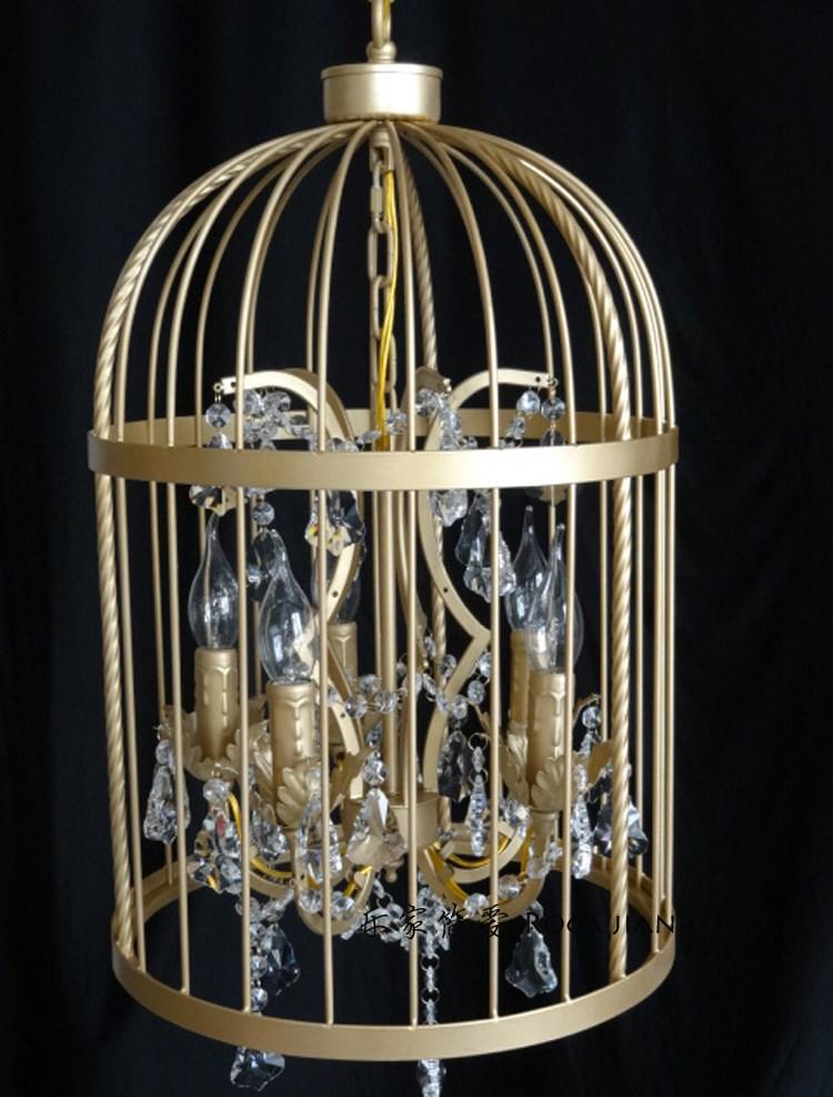 美式复古铁艺水晶金色鸟笼吊灯创意楼梯间餐厅服装店酒店别墅吊灯