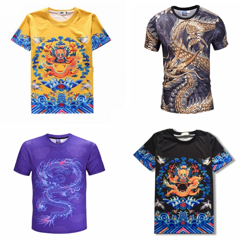 Dragon t-shirt men's popular printing personality short sleeve youth triad big brother gangster little gangster T-shirt