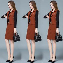 马甲连衣裙两件套女秋冬2020新款减龄显瘦气质小个子冬季裙子套装