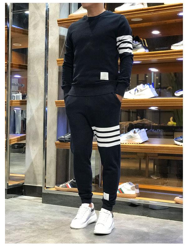 渠道元素秋冬款圆领卫衣两件套运动服男士T B系列套装