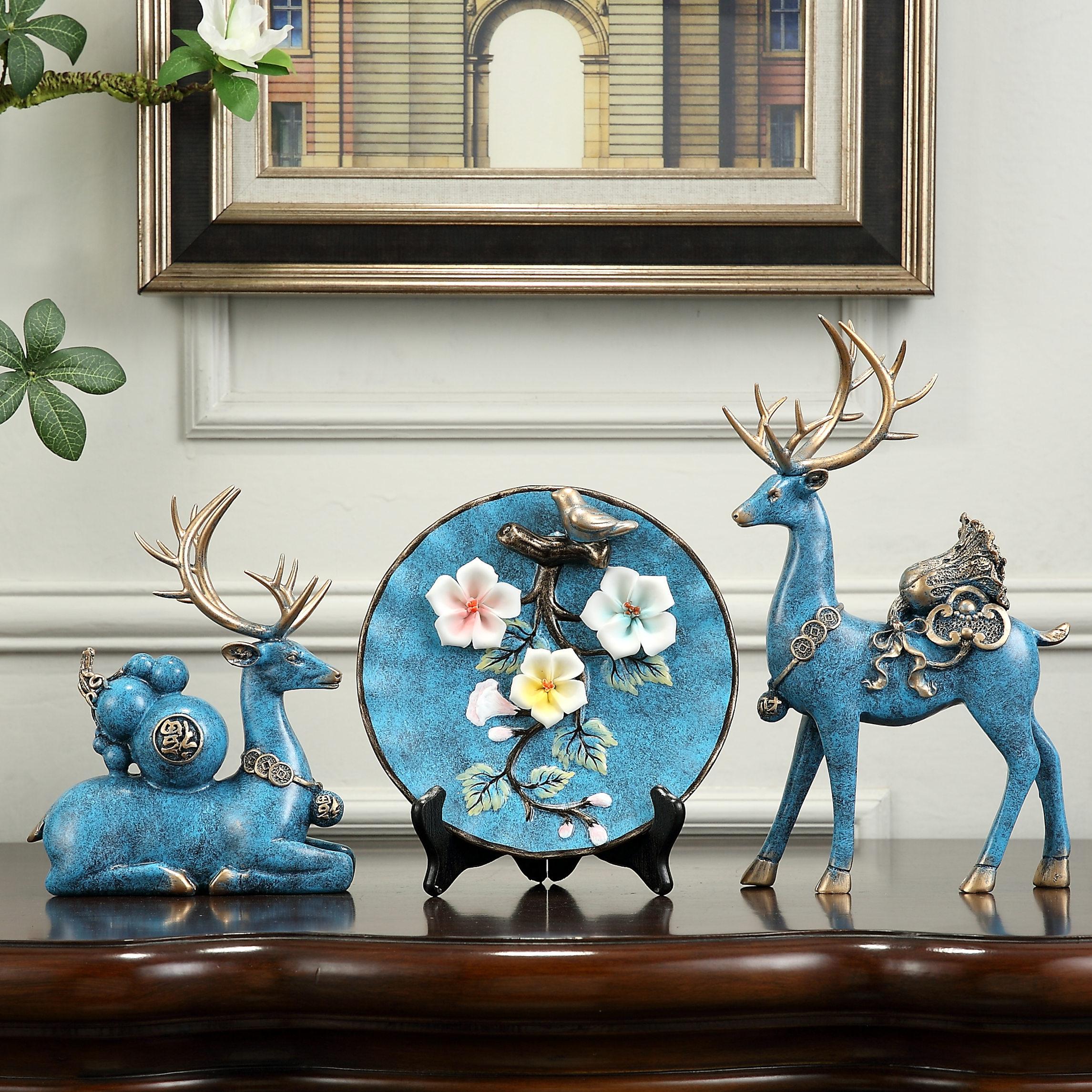 招财麋鹿三件套装装摆件创意欧式书房客家居饰品厅酒柜摆设工艺品