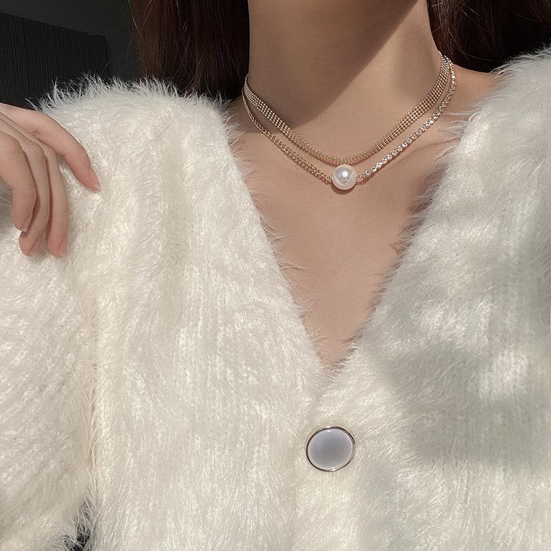 欧美双拼锁骨链轻奢叠戴多层项链女复古闪钻气质珍珠小香风吊坠