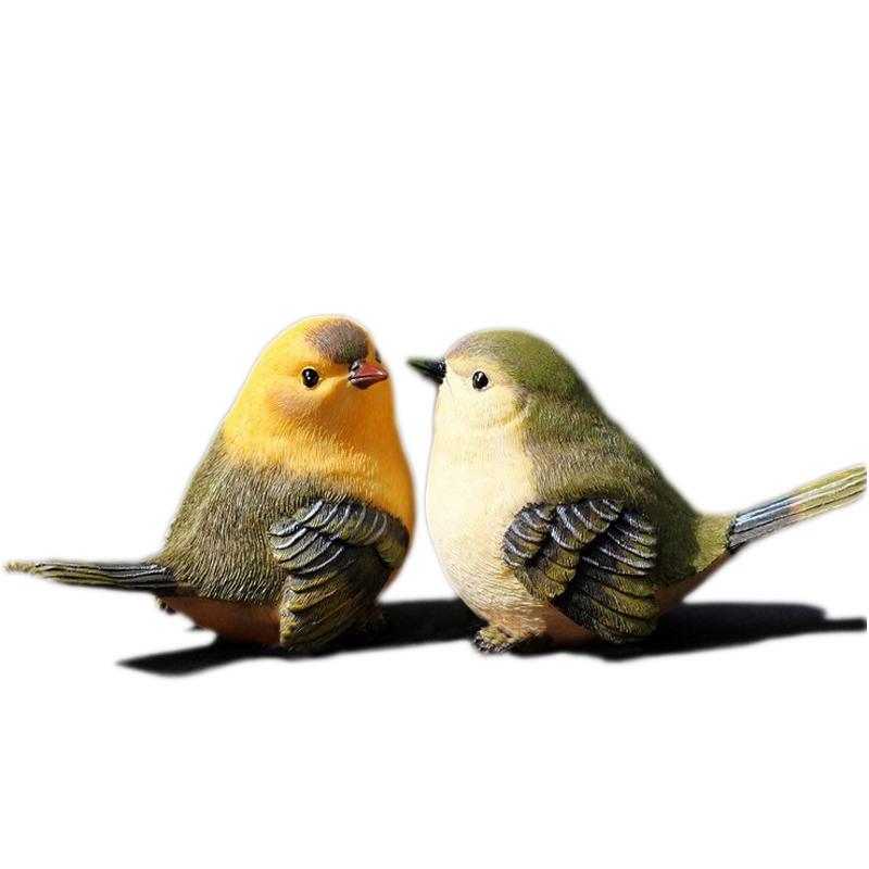 花园装饰庭院阳台客厅电视柜摆设园艺树脂小动物仿真小鸟摆件假鸟