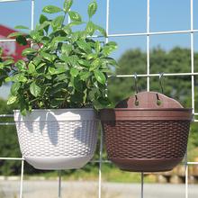 壁挂花盆塑料半圆形挂墙花盆室内外围栏阳台加厚绿萝水培悬挂花盆