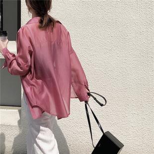 天絲防曬衫2020夏季薄款洋氣韓版ins風寬鬆防曬雪紡襯衫女中長款