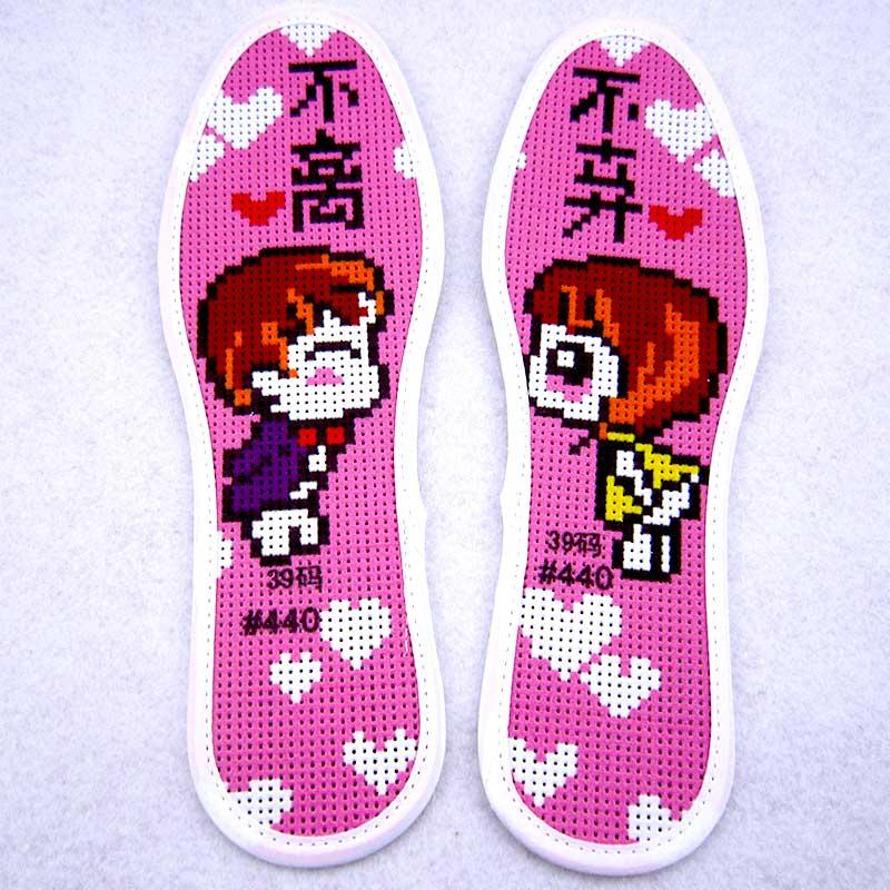 6双包邮新款自绣十字绣针孔鞋垫半成品全纯棉布手工刺绣绣花鞋垫