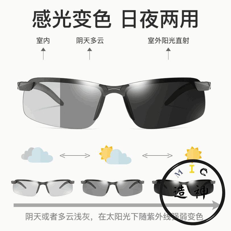 MIC1-变色偏光太阳镜钓鱼眼镜男士运动户外骑行驾驶司机开车墨镜