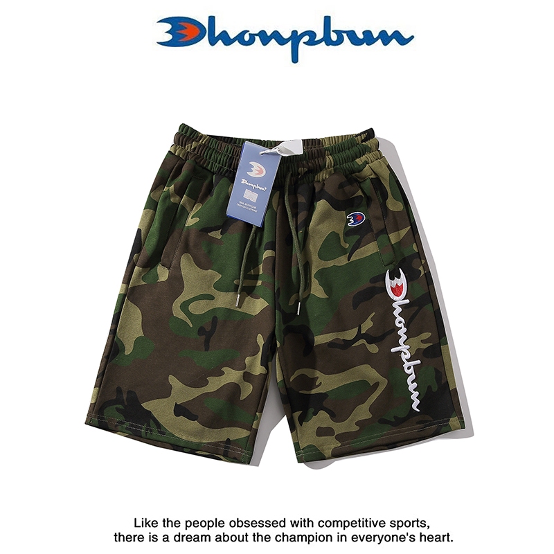Yu wenle cute champion 3D embroidery green camouflage Terry sports shorts mens casual 5-point beach pants womens