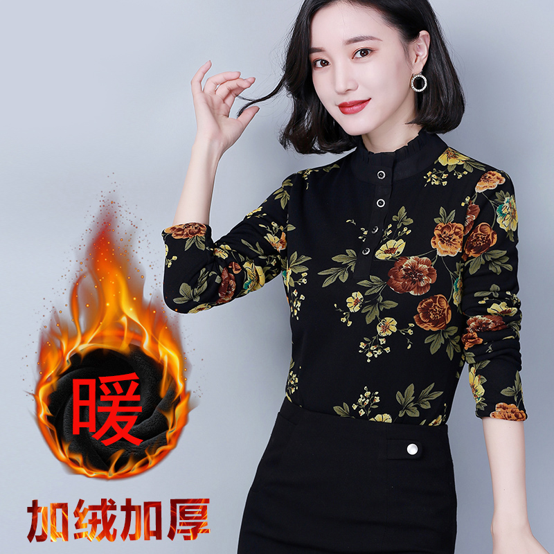 Womens spring dress in autumn and winter of 2019 new top dress Plush thickened base coat Long sleeve shirt T-shirt