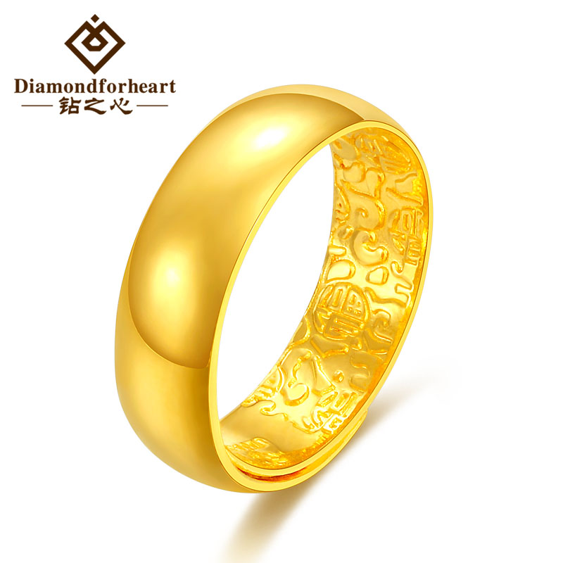Gold ring 9999 full gold wedding luster gold ring aperture pair ring adjustable male and female couple style opening
