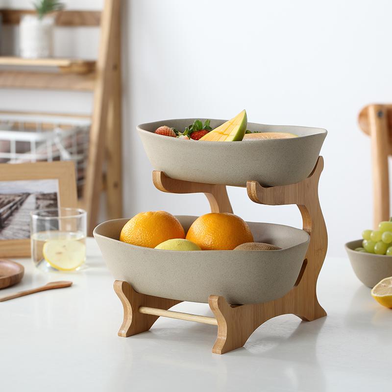 陶瓷水果盘创意现代客厅家用简约日式风格多双层果篮果盆竹木架子