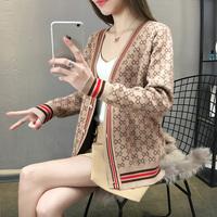 Mouxiu/魔袖春装针织开衫女2019春新款韩版宽松单排扣外套毛衣潮