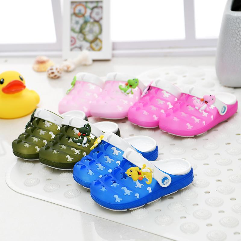 可愛兒童洞洞鞋男女小童中童防滑包頭拖鞋沙灘鞋果凍涼鞋