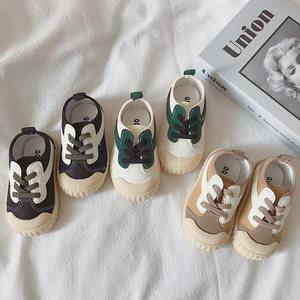 韩国帆布鞋软底儿童休闲鞋春秋季男女童幼儿园宝宝单鞋一脚蹬板鞋