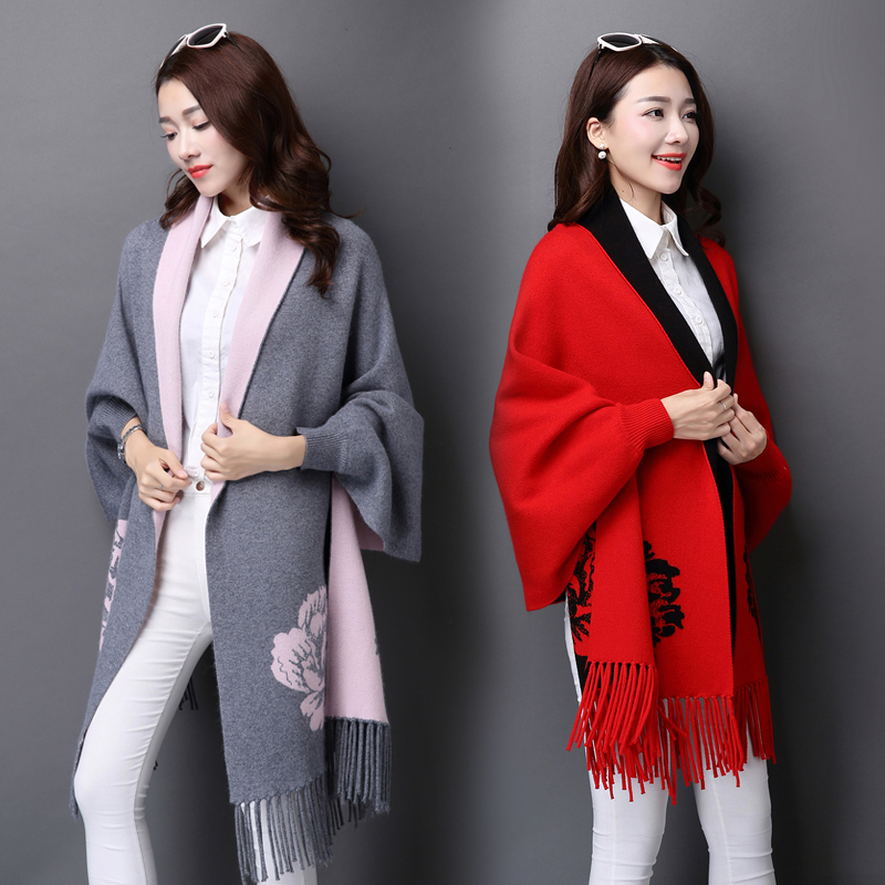 Jacquard pattern shawl scarf multifunctional womens winter shawl dual purpose cashmere scarf with sleeves autumn and winter