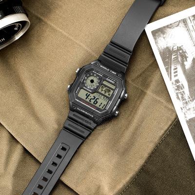 卡西欧电子表男表 防水方形数显CASIO运动学生手表AE-1200WH-1A