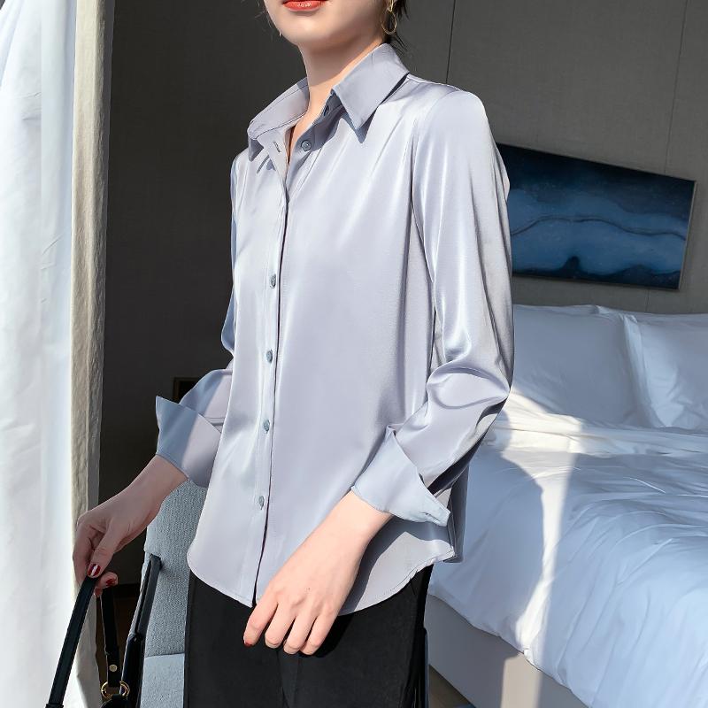JACOOBS大象灰缎面衬衫女设计感小众复古港味仿真丝垂感宽松上衣