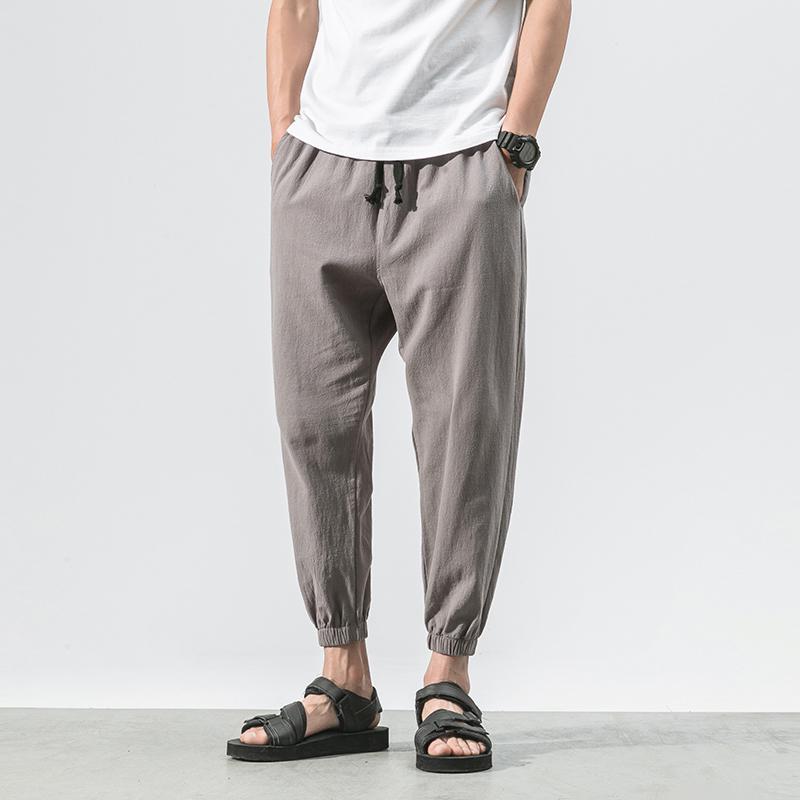 夏季中国风大码纯色小脚裤男潮胖宽松萝卜哈伦学生休闲灯笼九分裤