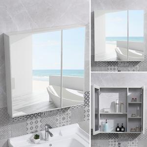全面镜柜太空铝浴室镜柜挂墙式梳妆洗手间带置物架镜箱厕所壁挂柜