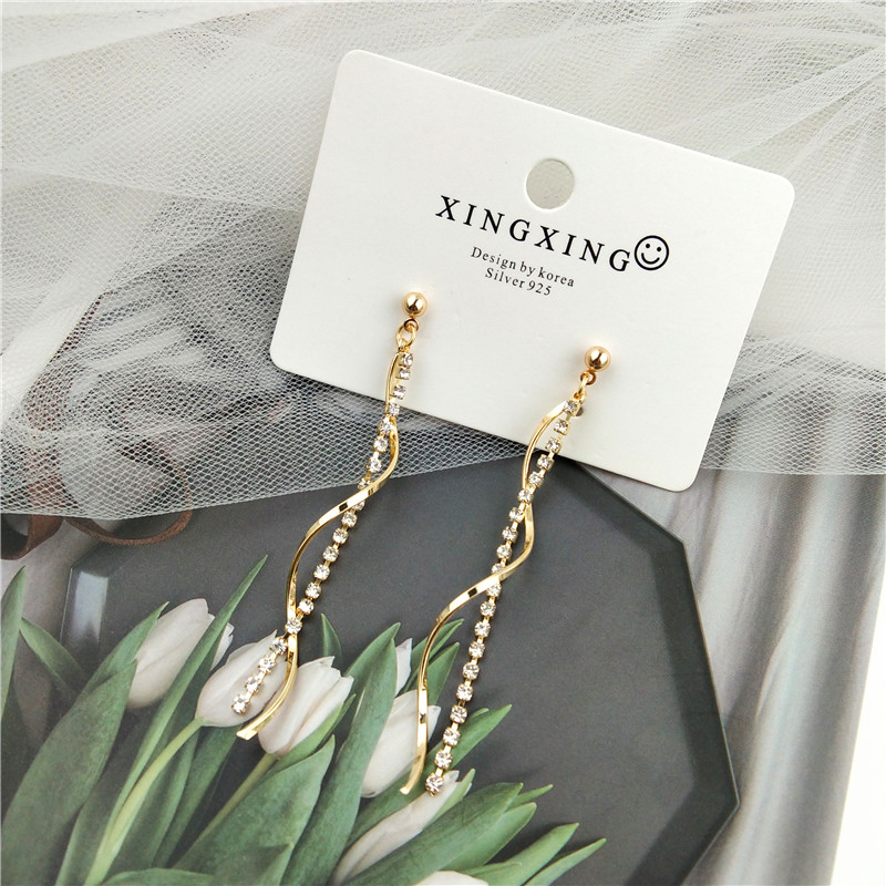 S925 East Gate New gemstone chain long earrings earrings net red same design sense versatile student Earrings female