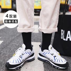 包邮韩版学院风男女中长筒棉袜子黑白纯色袜简约运动百搭高帮潮袜