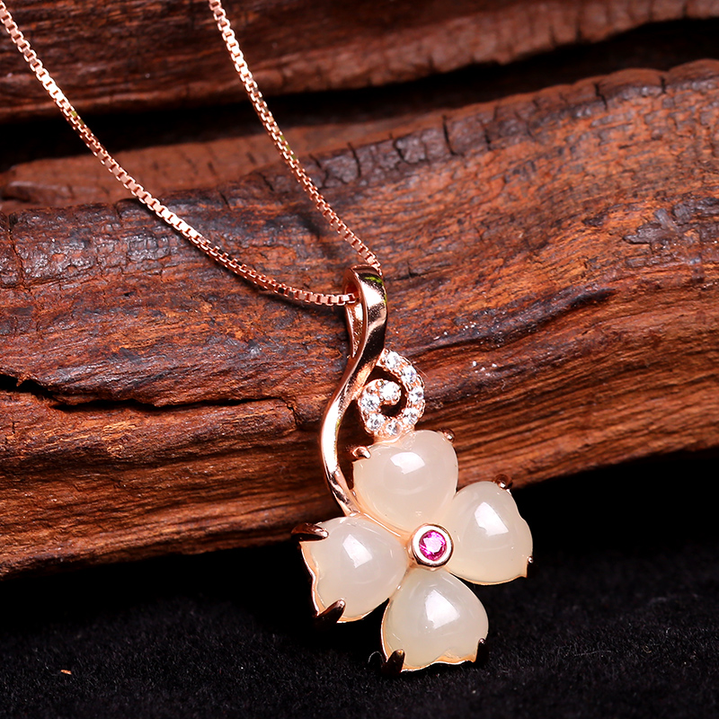 Clover Hotan Jade Pendant Necklace Pendant Sterling Silver womens rose gold inlaid jade small and exquisite jade pendant
