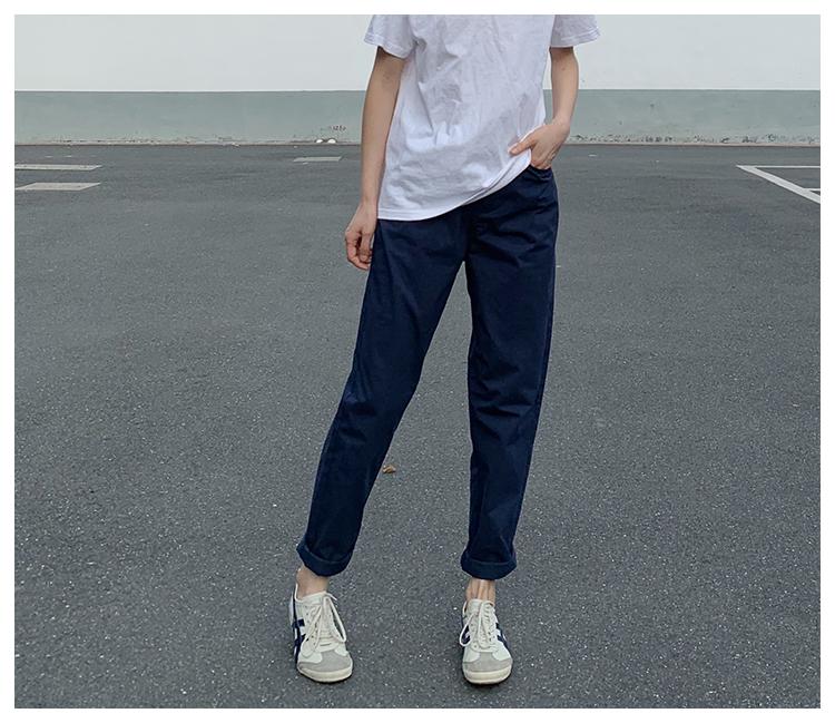 左手日记春夏新款休闲女裤深蓝色薄款长裤棉工装裤女宽松中性