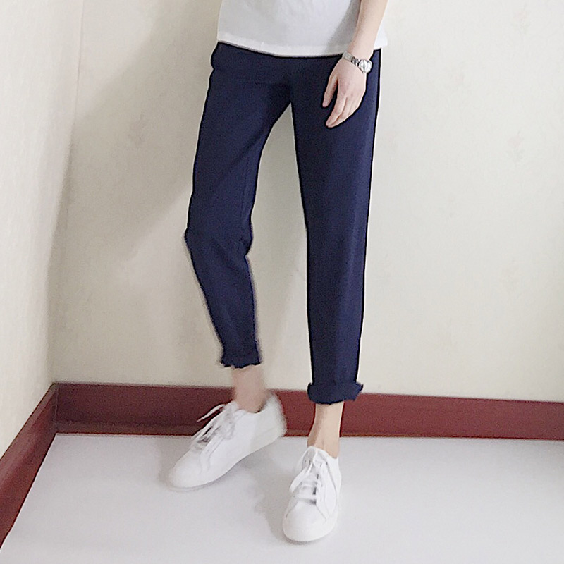 左手日记夏季新款休闲显瘦带垂感藏蓝色九分裤女中高腰薄款