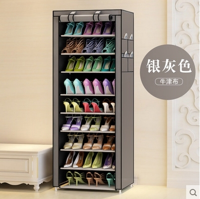 Shoe rack simple and economical household multifunctional multi-layer assembly stainless steel Oxford dust-proof canvas special price shoe cabinet