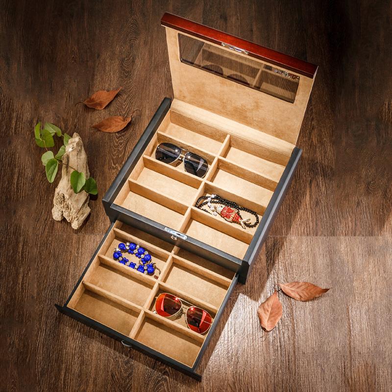 夭桃(饰品)实木质双层太阳眼镜盒墨镜收纳收藏盒木制首饰盒带锁