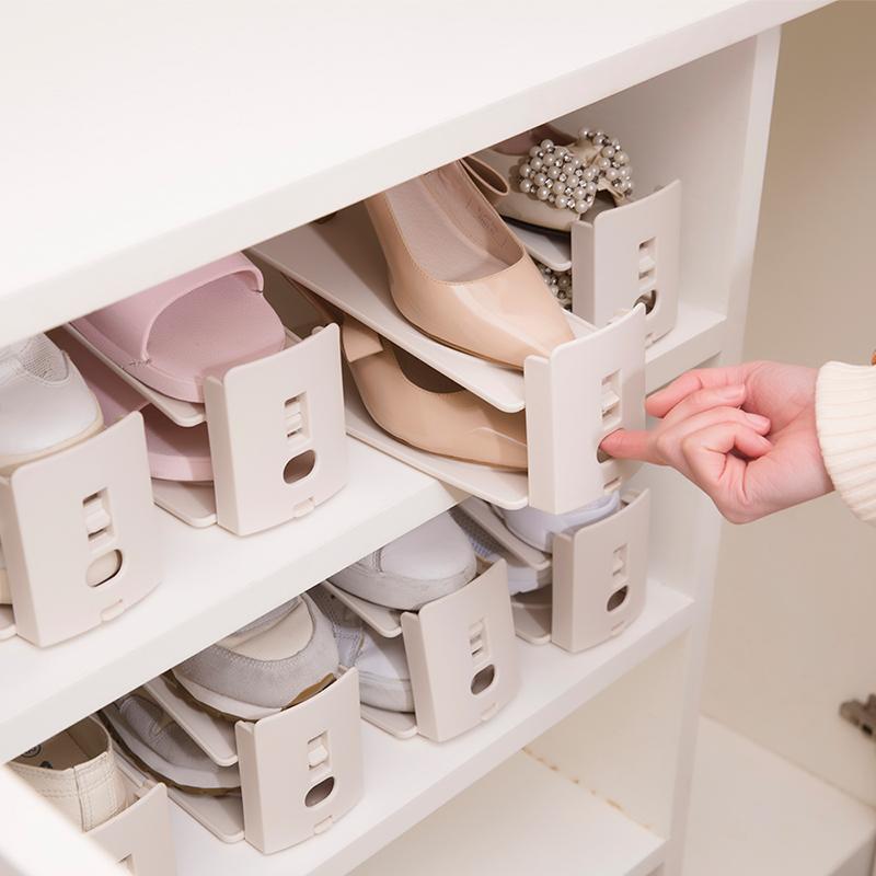 可调节鞋架塑料鞋盒双层鞋托鞋柜置物架收纳神器鞋子收纳盒一体式