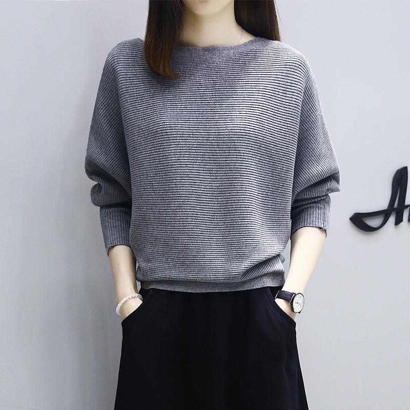 春装2021新款蝙蝠袖针织衫女士上衣宽松显瘦大码一字领套头毛衣女