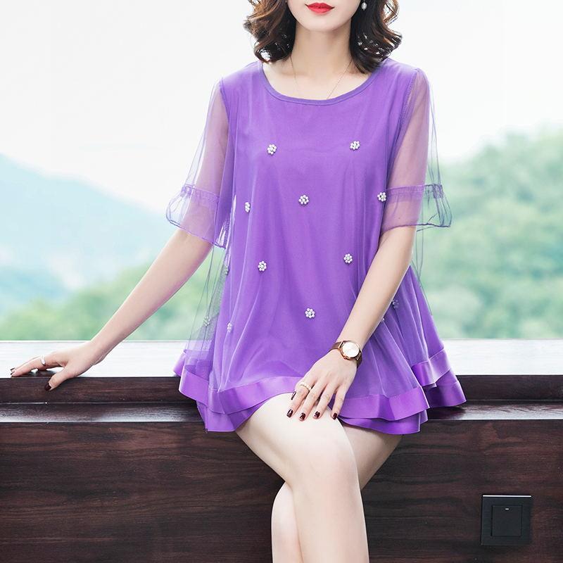 韩版大码女装200斤胖妹妹网纱拼接钉珠娃娃衫加肥加大遮肚夏季T恤