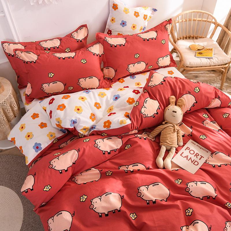 小猪纯棉床上四件套可爱学生床单需要用券