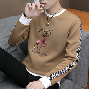 新款男士长袖t恤加绒冬装上衣服青年保暖潮流卫衣宽松秋衣打底衫图片