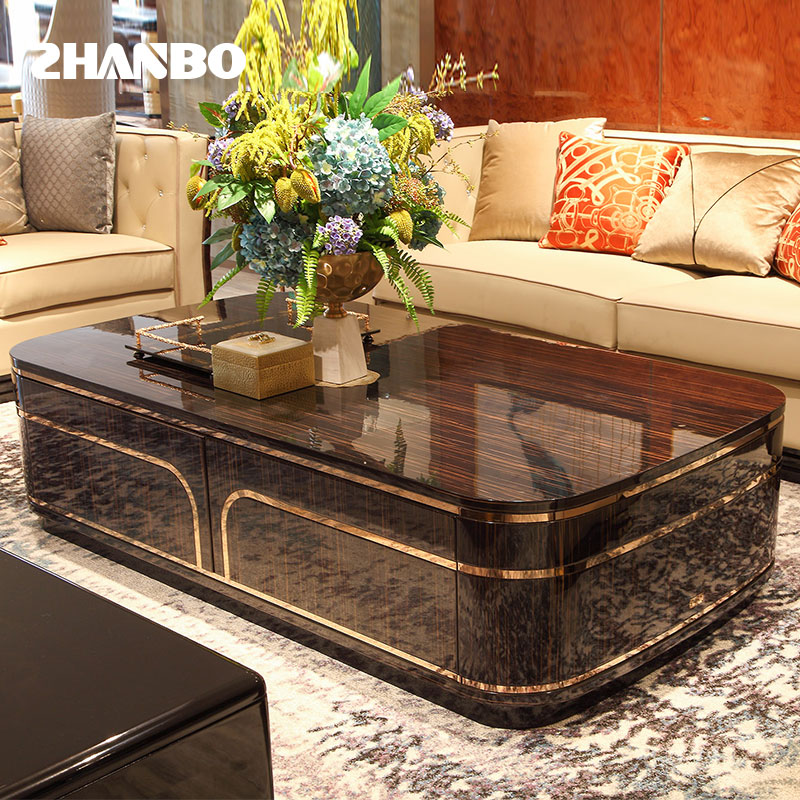 Solid beech living room household modern light luxury tea table table 4-smoke metal storage high-end TV cabinet combination