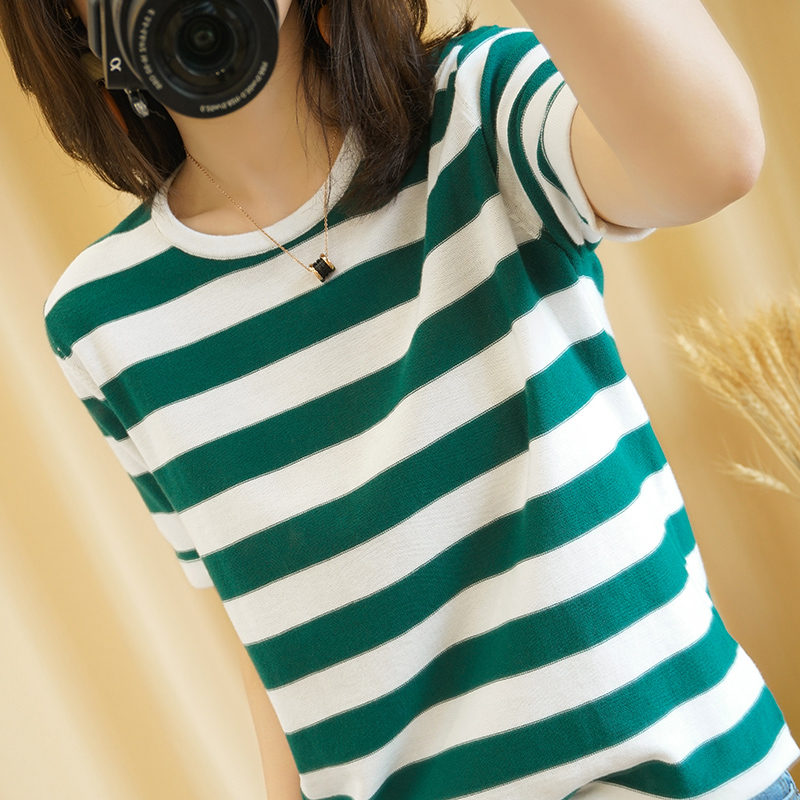 New pure cotton T-shirt womens half sleeve sweater stripe thin bottomed short sleeve 2020 summer loose round neck Korean version