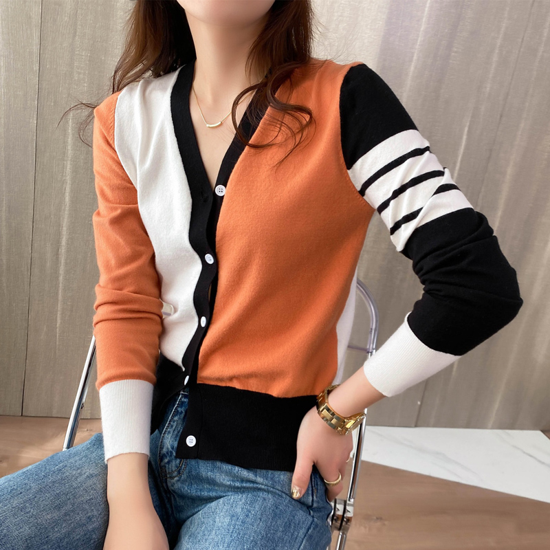 Fashionable color matching V-neck spring clothes new coat womens cardigan Korean version loose style casual sweater top