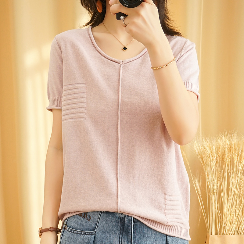 20 new cotton linen knitted short sleeve V-neck T-shirt womens solid color loose and thin pure cotton large size top linen half