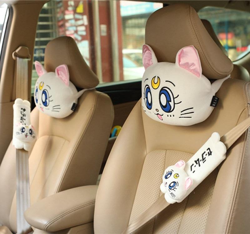 Postal cartoon girl warrior Luna cat car headrest neck pillow seat belt shoulder cover car interior decoration girl