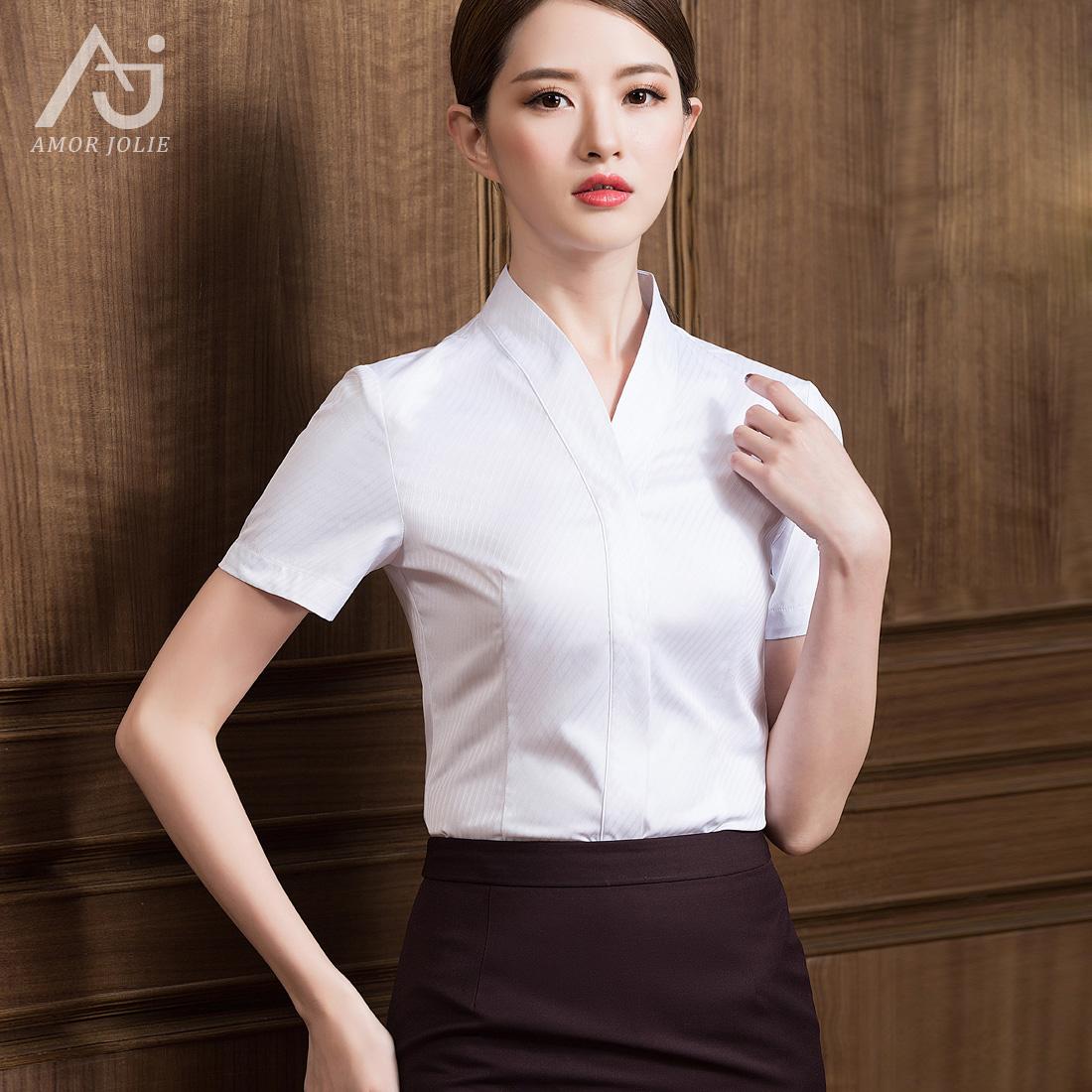 空乘面试职业装女白衬衫南航制服套装V领衬衣空姐航空服装裙子秋
