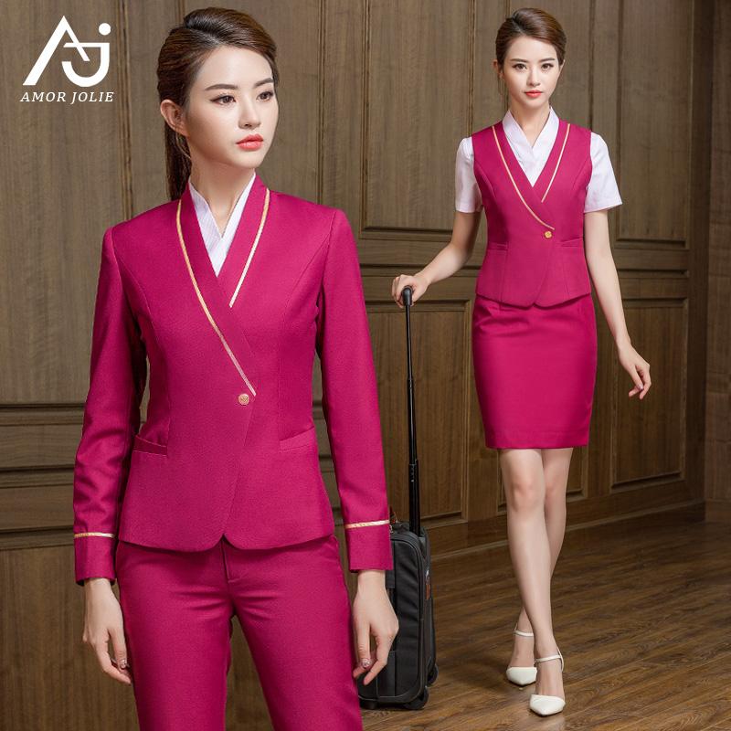南航空姐制服女高铁迎宾工作服美容院售楼处工装职业玫红色套装裙