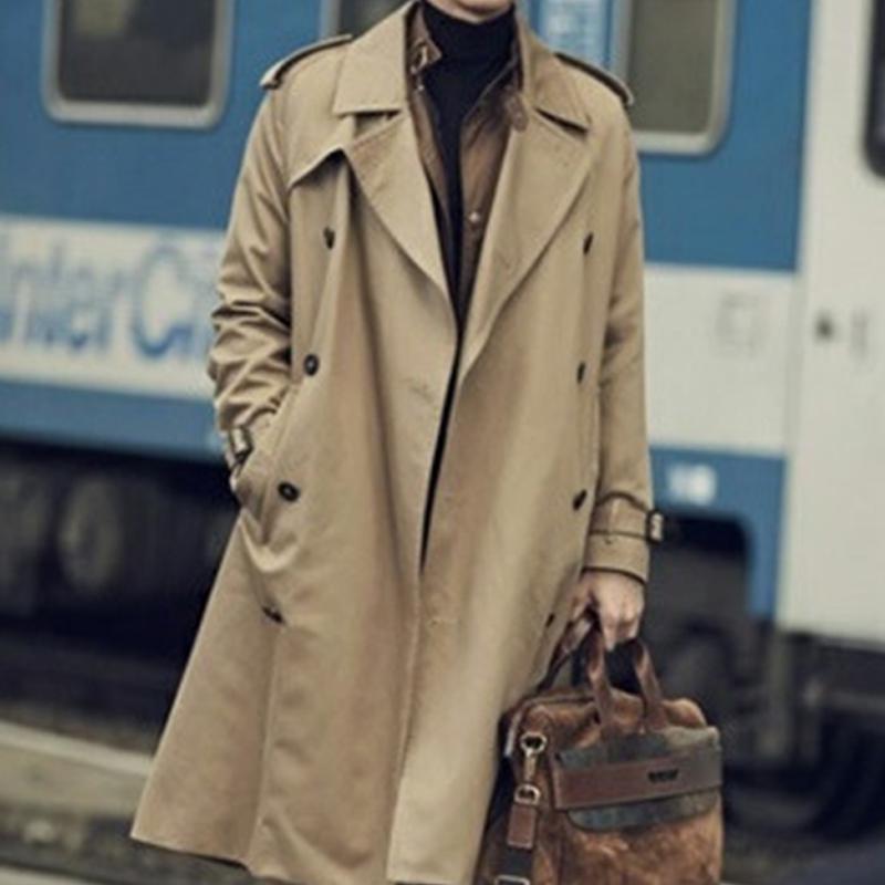 2021 spring and autumn new windbreaker Lapel medium length Khaki youth coat business leisure Korean youth mens wear