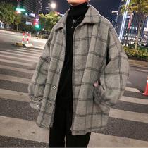 ins冬季外套男韩版潮流呢子港风中长款格子风衣秋冬男装毛呢大衣