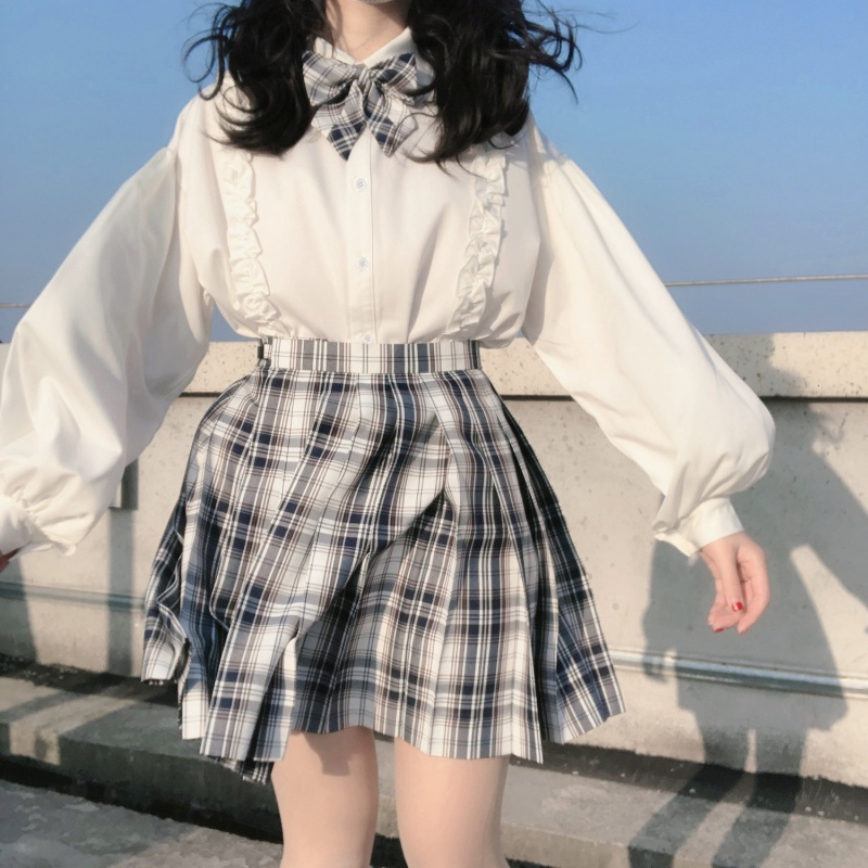 Fall 2020 new Japanese style lovely soft girl Lolita with white shirt and loose Lantern Sleeve Top for female students