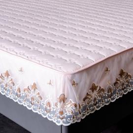 純棉抗菌床笠單件夾棉加厚席夢思保護套蕾絲花邊全棉床罩薄棕墊套圖片