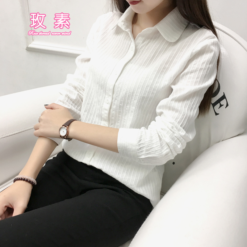 Collarless white shirt womens Long Sleeve Striped Korean style pure cotton slim fit doll stand collar lace round neck shirt spring new style