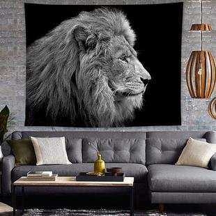 北欧ins挂布黑白狮子挂毯 饰画 饰毯挂画卧室壁毯装 床头柜布盖布装