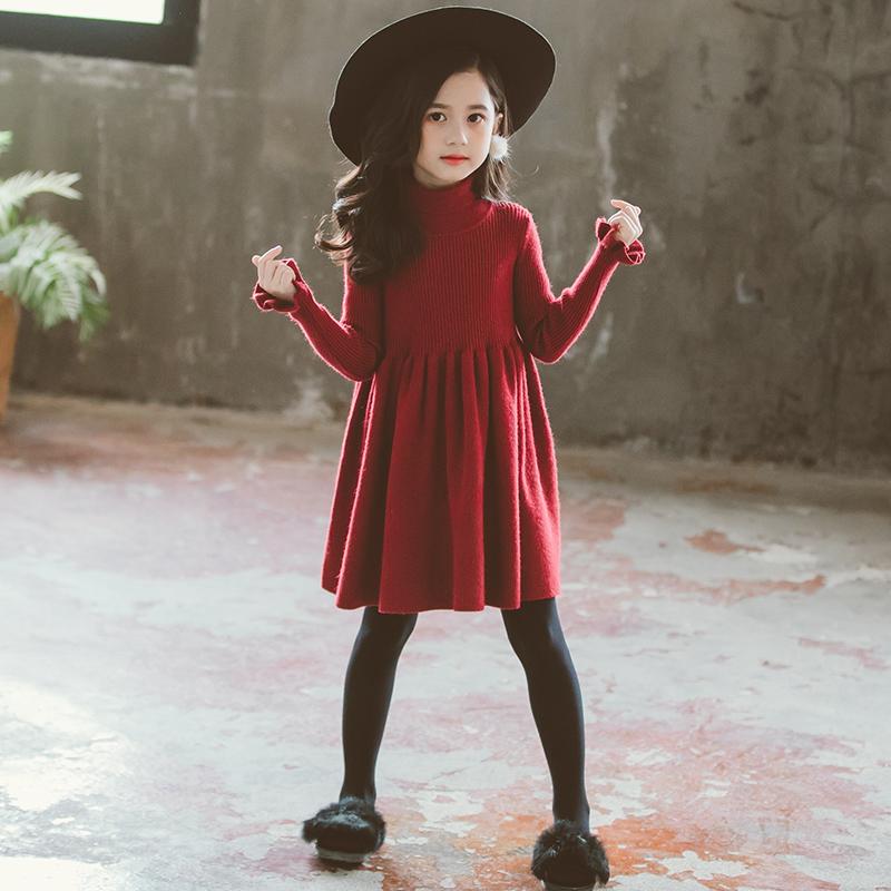 Girls dress autumn winter 2020 new foreign style baby wool dress high collar red knitting princess skirt long sleeve